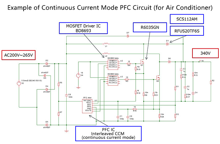 PFC Circuits for Air Conditioners:Example of Efficiency